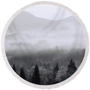 Moody Morning In The White Mountains National Forest Round Beach Towel