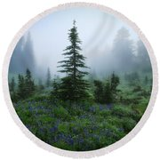 Moody Myrtle Falls Trail At Mount Rainier Round Beach Towel