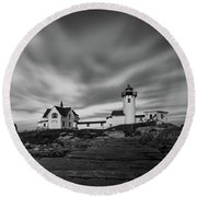 Moody Sky At Eastern Point Lighthouse Round Beach Towel