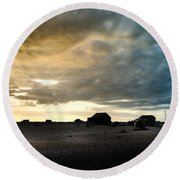 Moody Sky, Dungeness Beach  Round Beach Towel