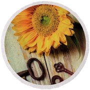 Moody Sunflower With Keys Round Beach Towel