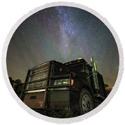 Moody Trucking Round Beach Towel