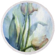 Round Beach Towel featuring the painting Moody Tulips by Hanne Lore Koehler