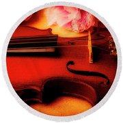 Moody Violin With Peonies Round Beach Towel