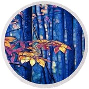 Moody Woods Round Beach Towel by Aimelle