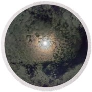 Moon And Clouds Round Beach Towel
