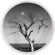 Moon And Memory At Bosque Del Apache N M Round Beach Towel