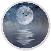 Moon And Sea Round Beach Towel