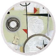 Moon And Stars In Space Round Beach Towel by Michal Mitak Mahgerefteh