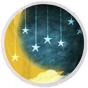 Moon And Stars Round Beach Towel