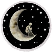 Moon And Stars T Shirt Design Round Beach Towel