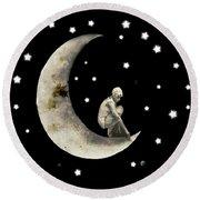 Moon And Stars T Shirt Design Round Beach Towel