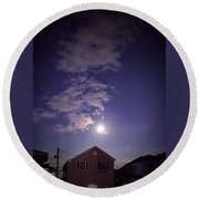 Moon And The Sky Over Roof Round Beach Towel by Mina K