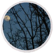 Moon At Dusk Through Trees - Impressionism Round Beach Towel