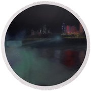 Moon At Niagara  Round Beach Towel
