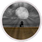 Moon Beams Round Beach Towel