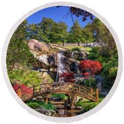 Moon Bridge And Maymont Falls Round Beach Towel