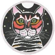 Moon Cat Round Beach Towel