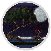 Round Beach Towel featuring the digital art Moon Dancer by Iowan Stone-Flowers