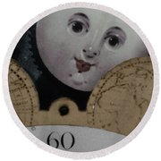 Moon Face Round Beach Towel