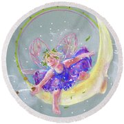 Round Beach Towel featuring the painting Moon Fairy by Gertrude Palmer