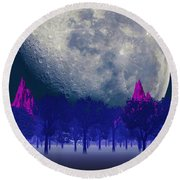 Moon Forest Round Beach Towel