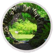 Moon Gate At Kinney Azalea Gardens Round Beach Towel