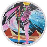 Blaa Kattproduksjoner             Moon God - Osiris Round Beach Towel