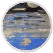 Moon In October Sky Round Beach Towel