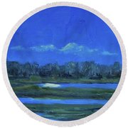 Moon Light And Mud Puddles Round Beach Towel by Billie Colson
