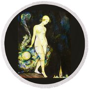 Round Beach Towel featuring the drawing Moon Light by Anna  Duyunova