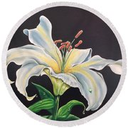 Moon Light Lilly Round Beach Towel