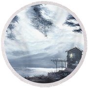 Round Beach Towel featuring the painting Moon Light New by Anil Nene