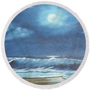 Moon Light Night In Paradise Round Beach Towel