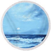 Moon Light Night Wave Round Beach Towel