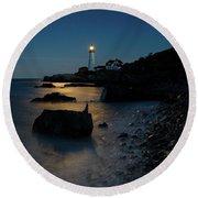 Moon Light Over The Lighthouse  Round Beach Towel by Emmanuel Panagiotakis