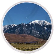 Moon Lit Colorado Great Sand Dunes Starry Night  Round Beach Towel by James BO Insogna