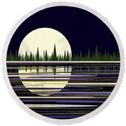 Moon Lit Water Round Beach Towel by Val Arie
