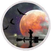 Moon Mist Round Beach Towel