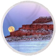 Round Beach Towel featuring the photograph Moon Of The Popping Trees by Fiskr Larsen