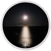 Moon On Ocean Round Beach Towel