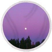 Moon On Perfect Purple Round Beach Towel
