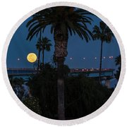 Moon On The Rise Round Beach Towel