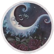 Moon Over Bed Of Roses Round Beach Towel