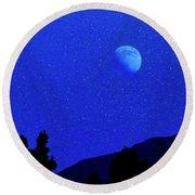 Moon Over Black Mesa II Round Beach Towel