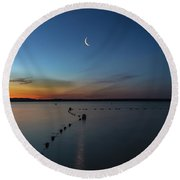 Moon Over Cayuga Round Beach Towel