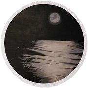 Moon Over The Wedge Round Beach Towel
