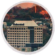 Moon Over Federated Building  Round Beach Towel by Emmanuel Panagiotakis
