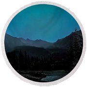 Moon Over Field Bc Round Beach Towel