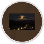 Moon Over Genessee Round Beach Towel